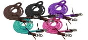 "Showman ® 96"" Derby nylon barrel reins with scissor snap ends"