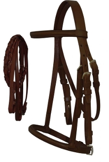 English Horse Raised Headstall & Braided Rein Set