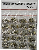 Chicago screw assortment contains brass and chrome plated